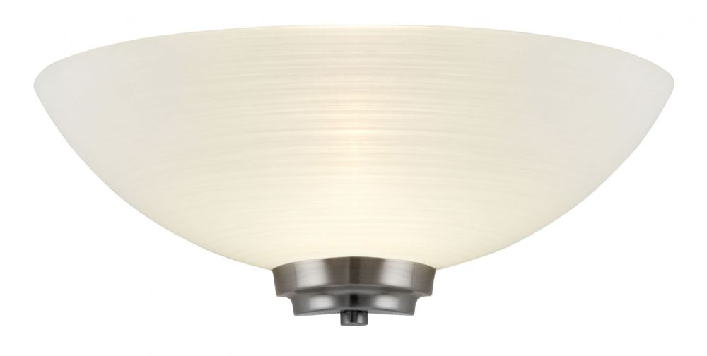 1 Light Wall Light In Satin Chrome + Frosted Glass Shade BXWELLES-1WBSC-17 (Double Insulated)